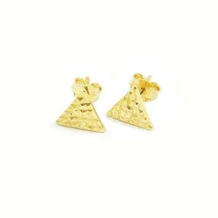Złote kolczyki trójkąty