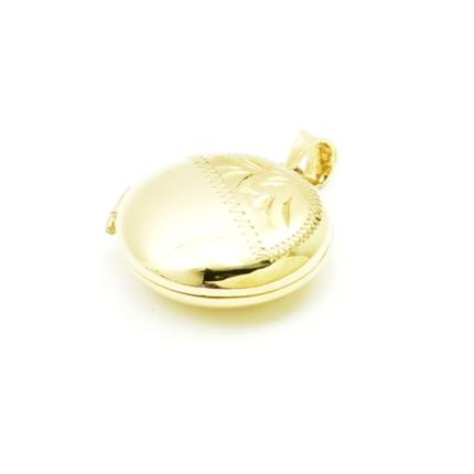 Złote serduszko puzderko- sekretnik z grawerem okrągły