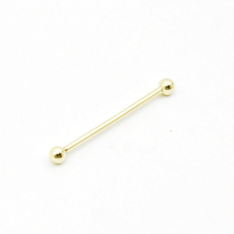 Złoty kolczyk sztanga Piercing - 585.