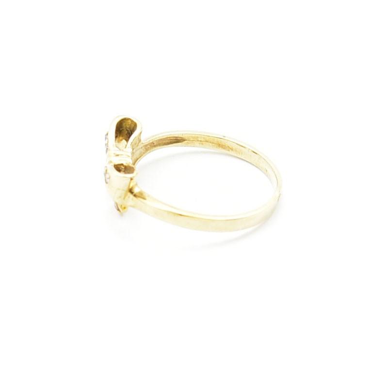 Złota kokardka - pierścionek.