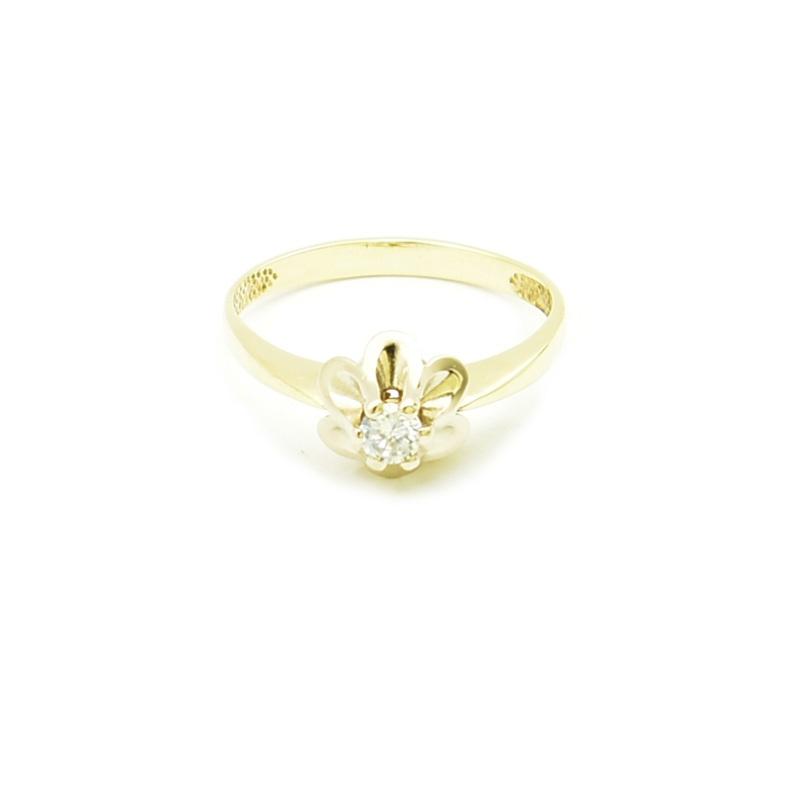 Złoty pierścionek z białą cyrkonią - model pb-88