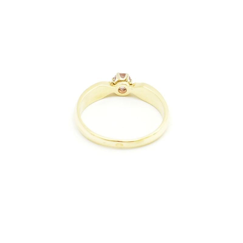 Wnętrze złotego pierścionka z topazem.
